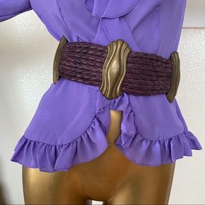 Accessories - Vintage Purple Leather Brass Belt